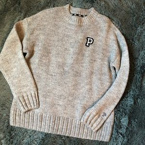 NWT VS Pink grey crew neck knit sweater